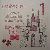 White Cotton Cards Carte faite main pour 1er anniversaire Inscription Once Upon a Time Happy 1st Birthday Princess
