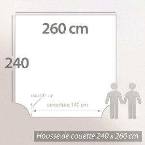 Linnea Housse de couette 260x240 cm satin de coton BLOSSOM rouge ocre