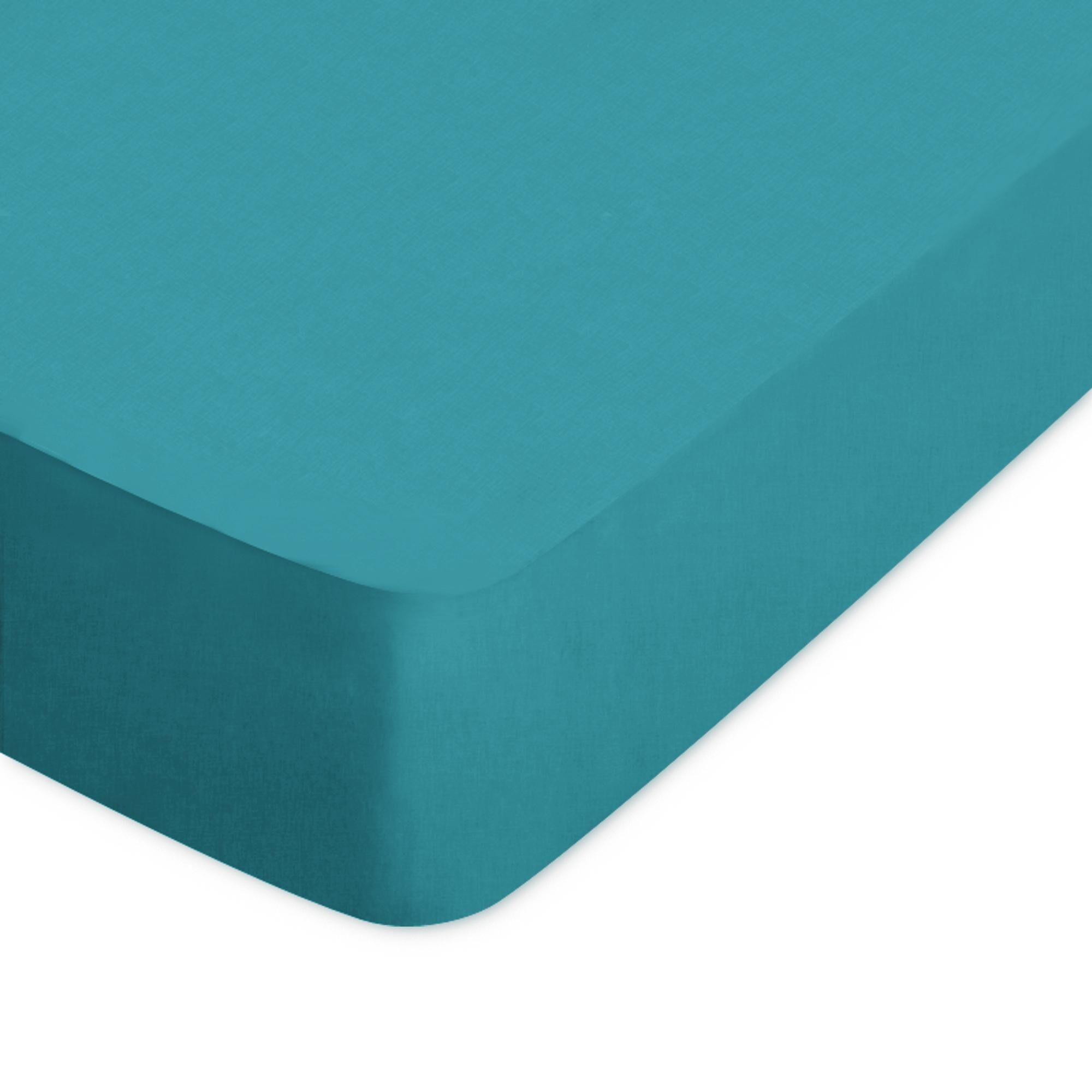 Linnea Drap housse uni 160x210 cm 100% coton ALTO bleu colibri