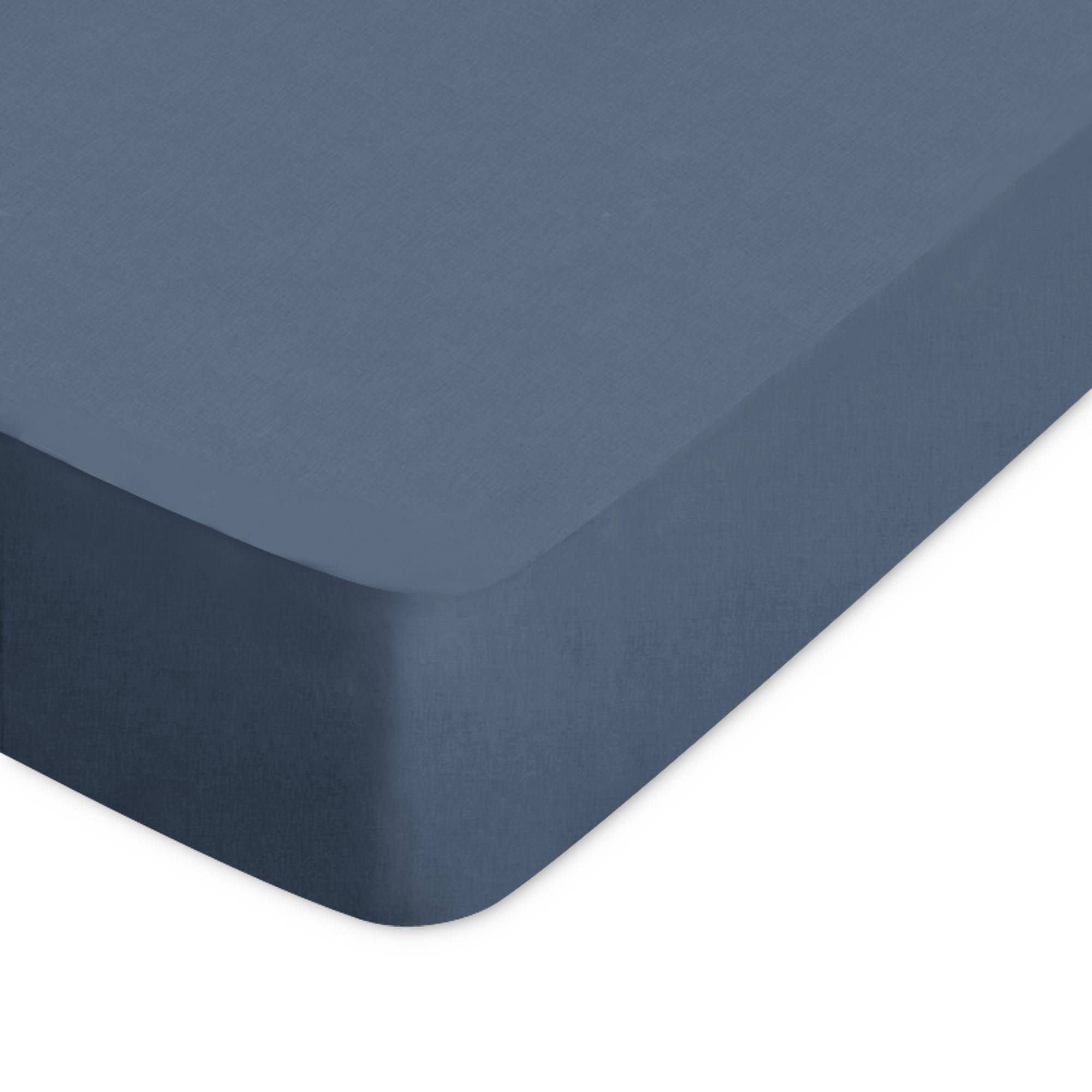 Linnea Drap housse uni 60x120 cm 100% coton ALTO bleu Jean