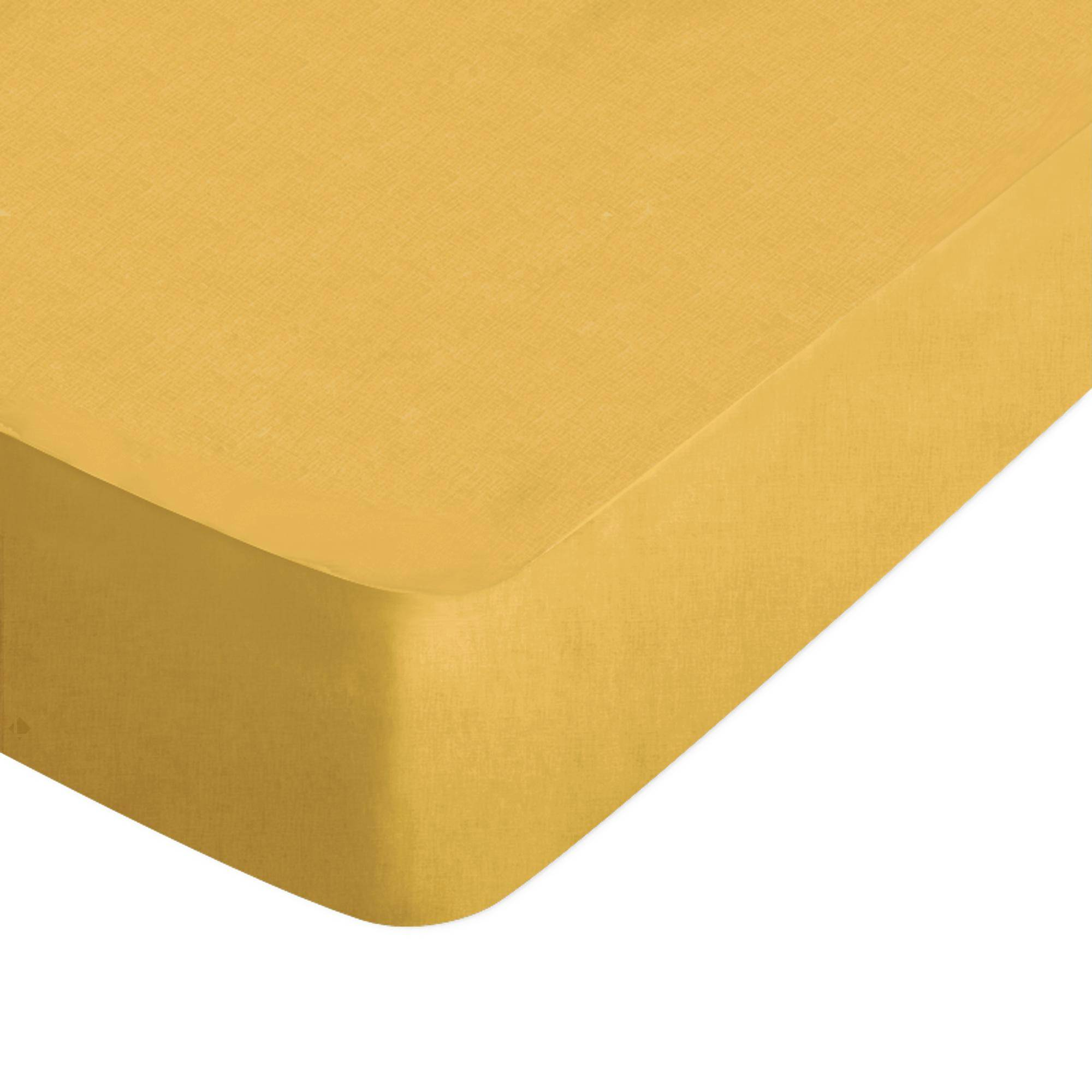 Linnea Drap housse uni 60x120 cm 100% coton ALTO jaune bourdon