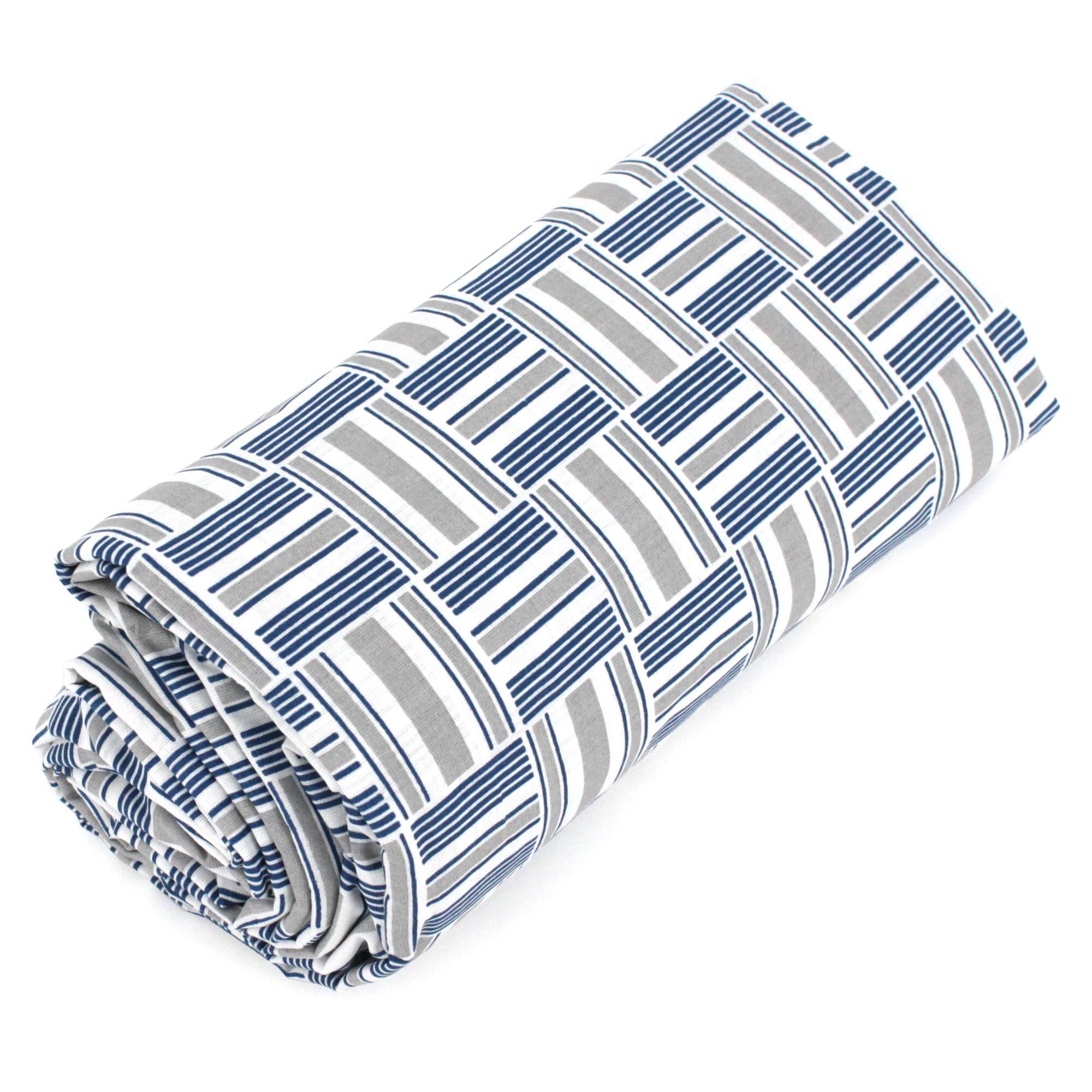Linnea Drap housse imprimé 80x200 cm 100% coton DIEGO bleu baltique Bonnet 40 cm