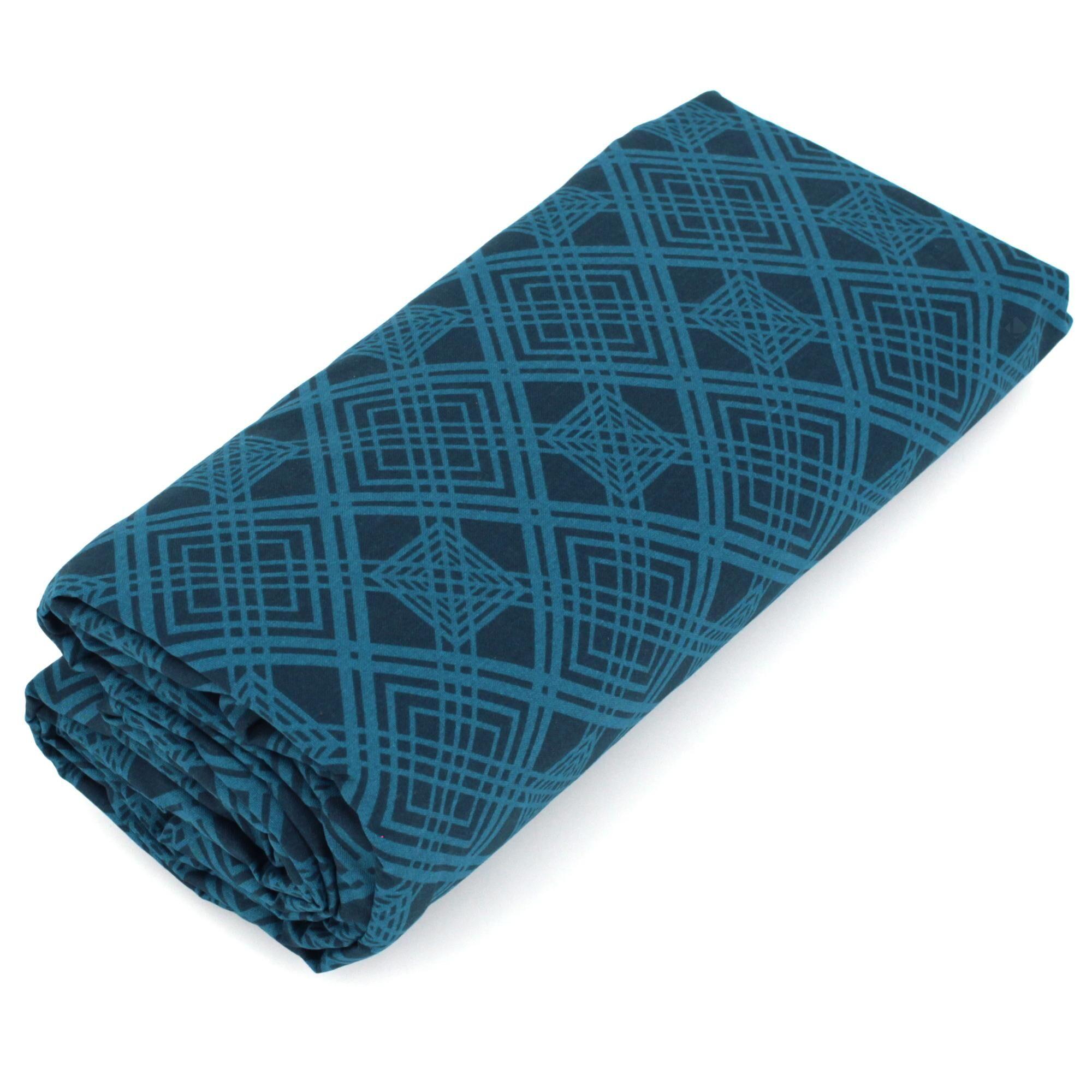 Linnea Drap housse imprimé 80x200 cm 100% coton TALISMAN bleu paon Bonnet 40 cm