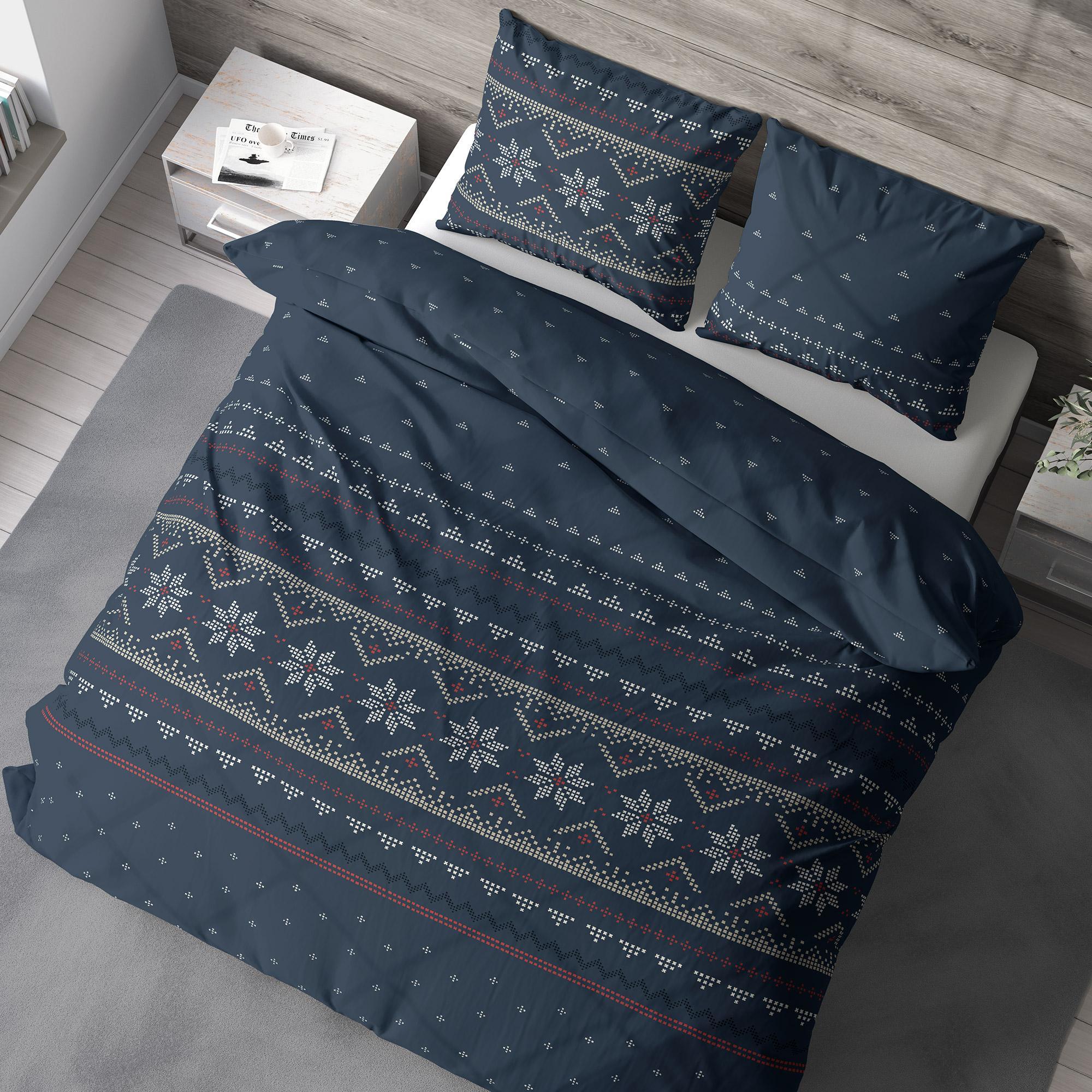 Linnea Parure de lit 260x240 cm 100% coton bio NEIGE Bleu Jean
