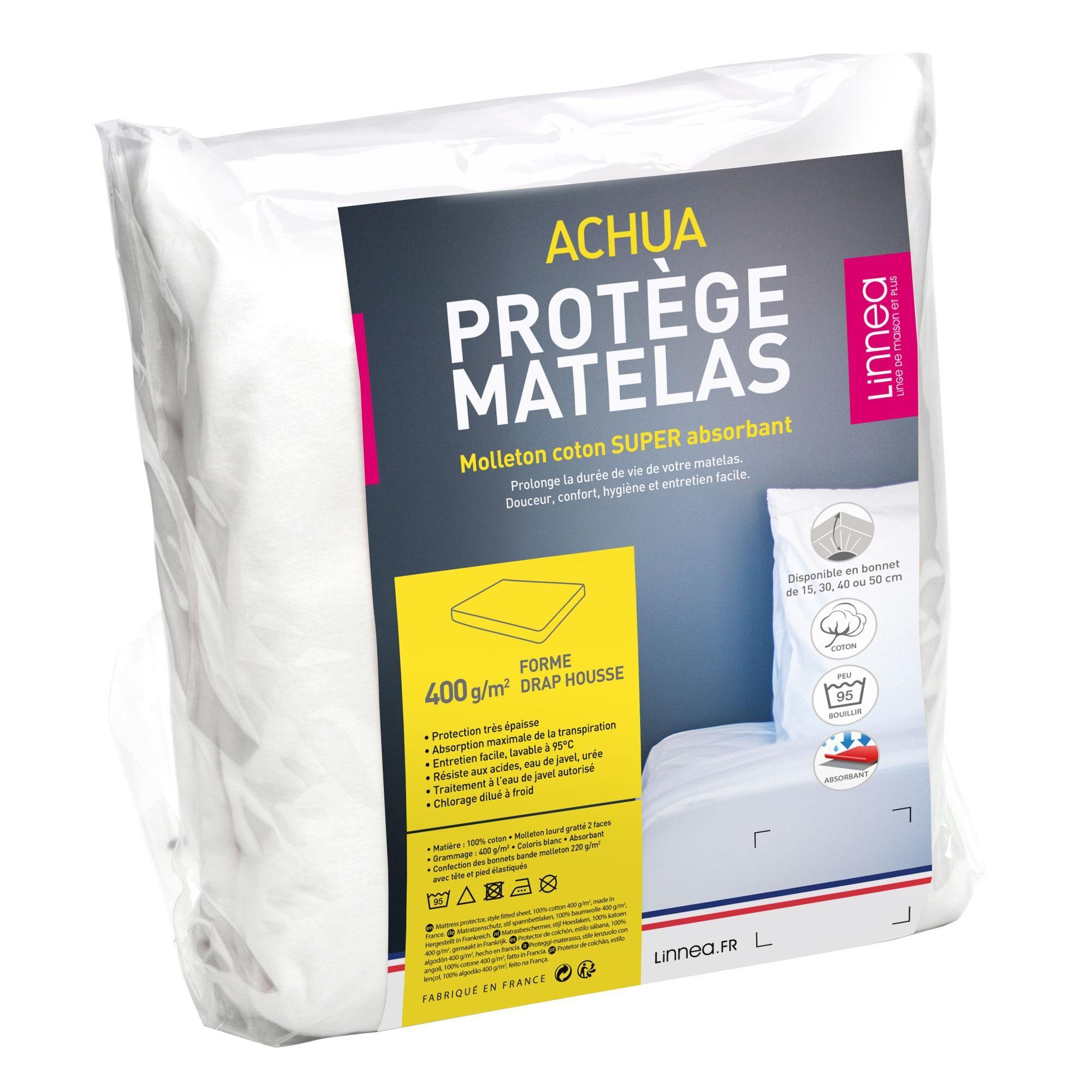 Linnea Protège matelas 80x200 cm ACHUA Molleton 100% coton 400 g/m2 bonnet 40cm