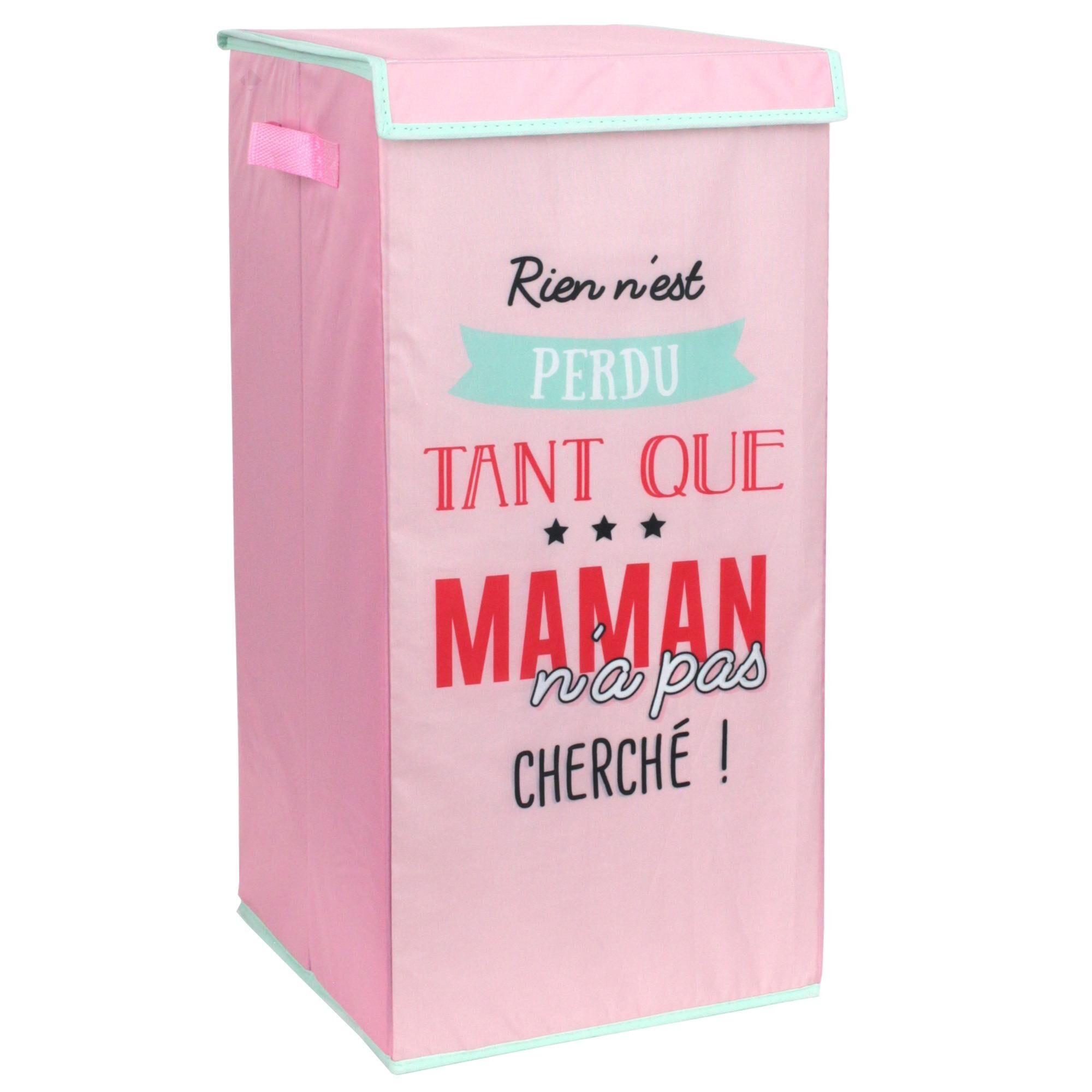 Linnea Panier à linge cartonnée avec couvercle 54L rose Rien n'est perdu tant que maman n'a pas cherché
