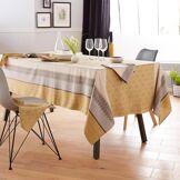 Linnea Nappe rectangle 150x250 cm Jacquard 100% coton + enduction acrylique CHARLESTON jaune Moutarde