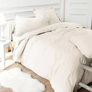 Linnea Drap housse relaxation uni 2x80x210 cm 100% coton ALTO Crème TPR Tête et pied relevable - Publicité