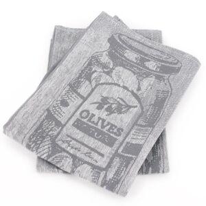 Linnea Lot de 2 torchons de cuisine toile 50x70 cm OLIVES gris coton et lin - Publicité