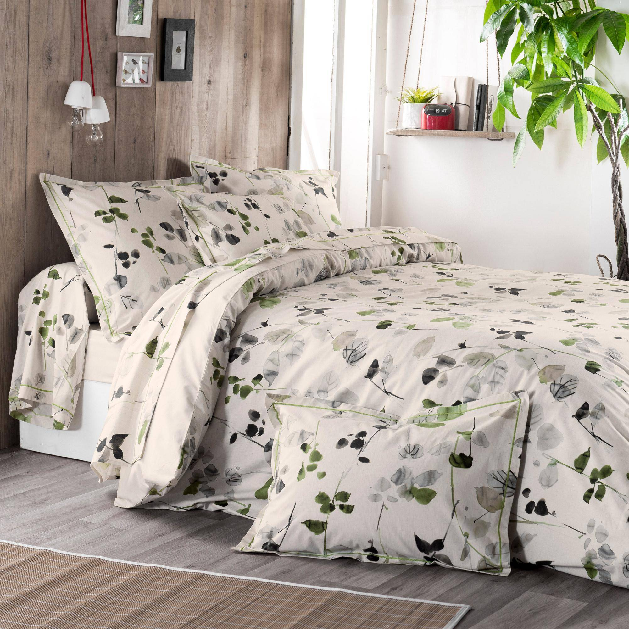 Linnea Housse de couette 140x200 cm 100% coton FEUILLAGES vert Anis