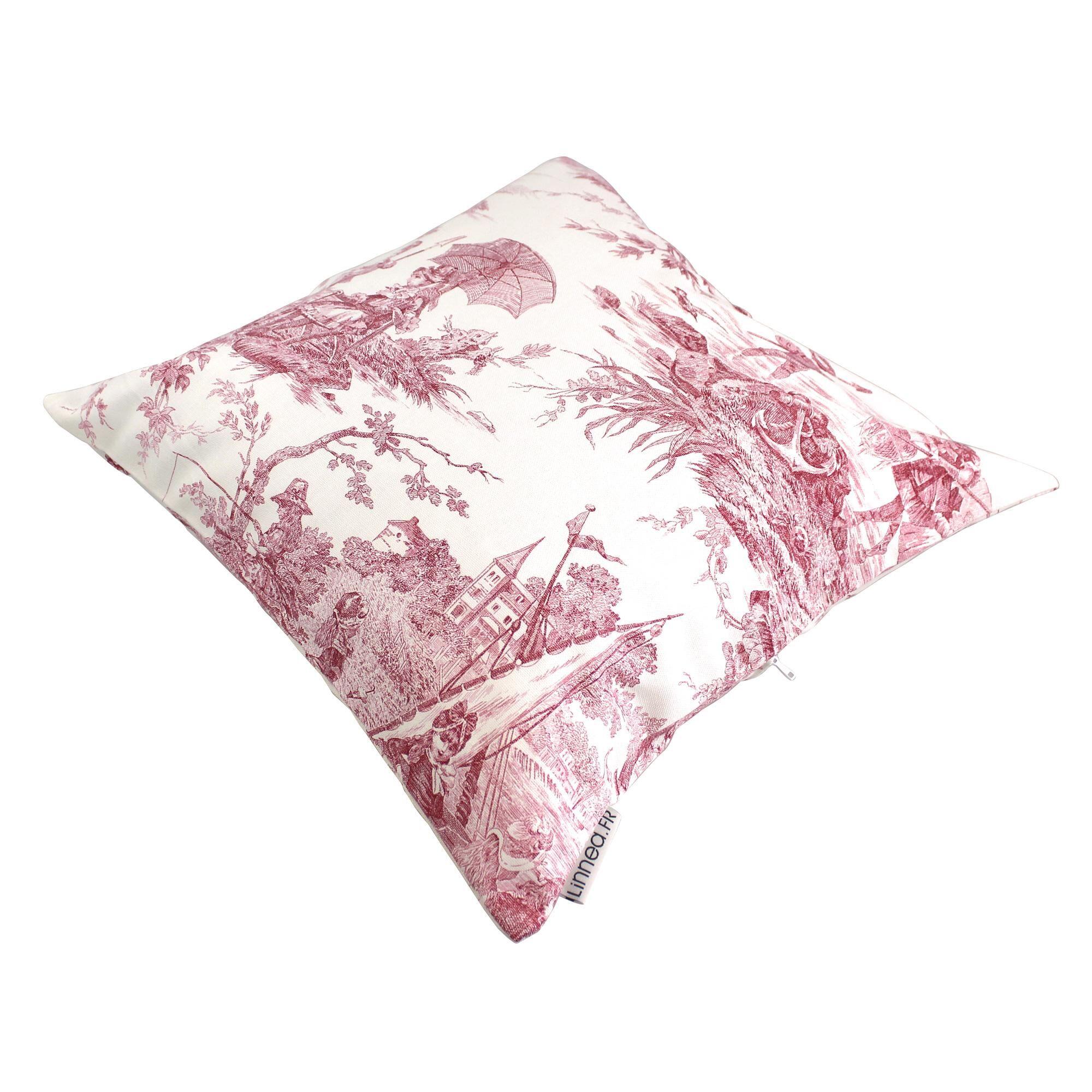 Linnea Housse de coussin 45x45 cm LOVOLO Voilier Rose 100% coton