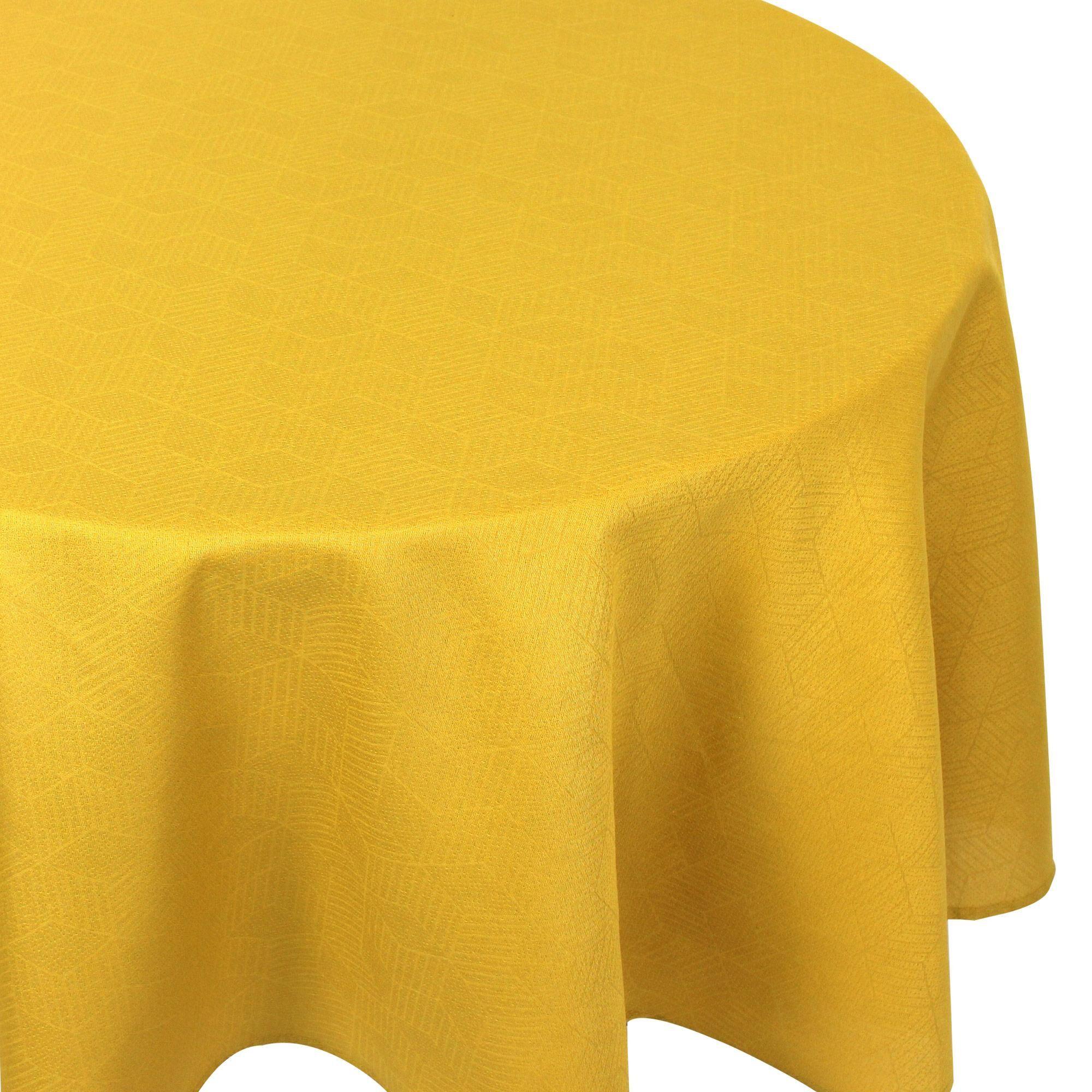 Linnea Nappe ronde 180 cm Jacquard 100% coton CUBE jaune Curcuma