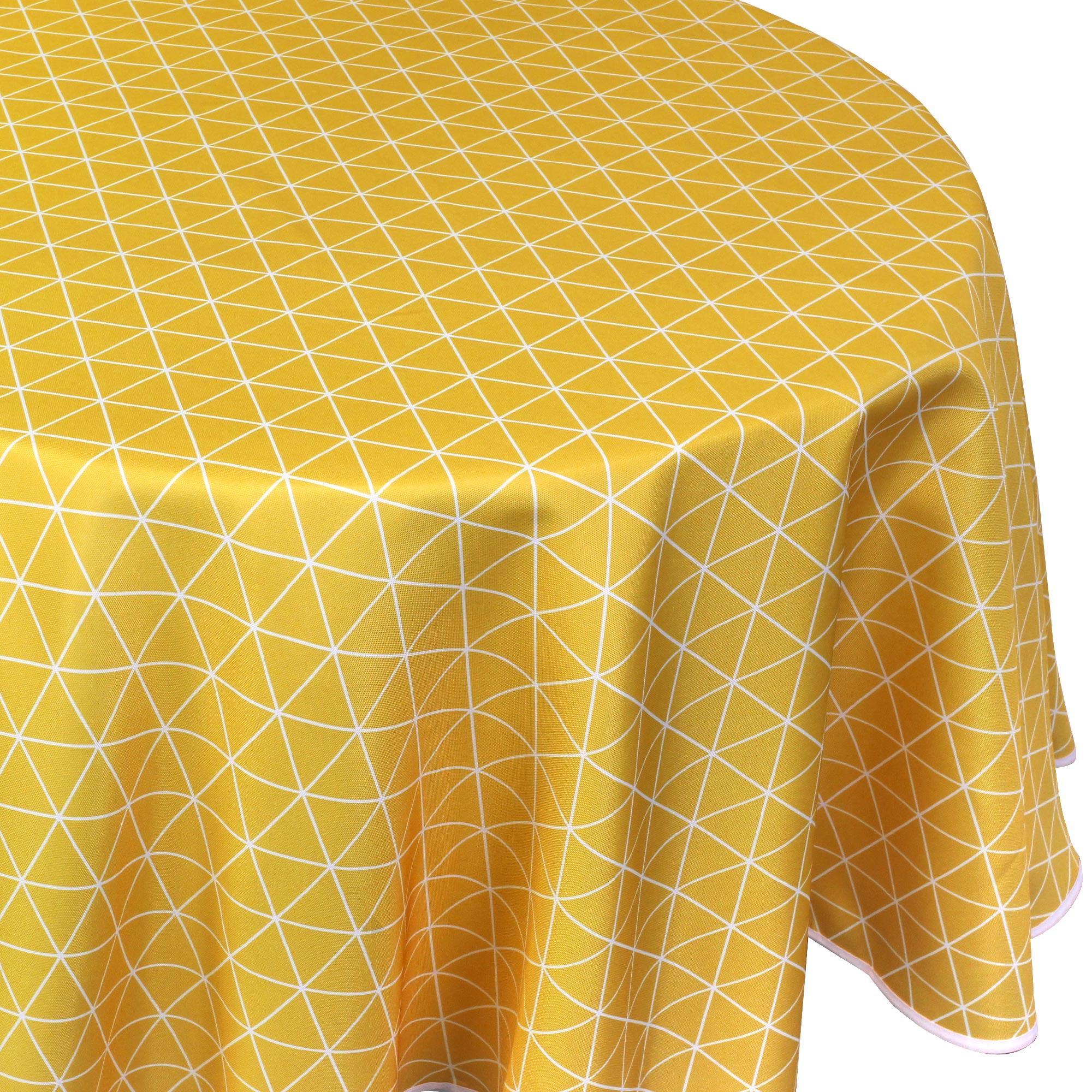 Linnea Nappe ronde 180 cm imprimée 100% polyester PACO géométrique jaune Maïs