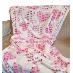 OEM Κουβέρτα Καναπέ 100x150εκ. Ανάγλυφη Fleece Pink Heart - OEM - pink heart-k1