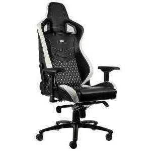 NOBLECHAIRS EPIC REAL LEATHER GAMING CHAIR BLACK/WHITE/RED - NBL-RL-EPC-001