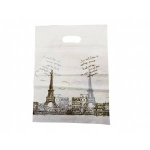 Cb Πλαστική Τσάντα Διαστάσεων 40x30 cm Σε Μπεζ χρώμα με σχέδιο Παρίσι - Cb