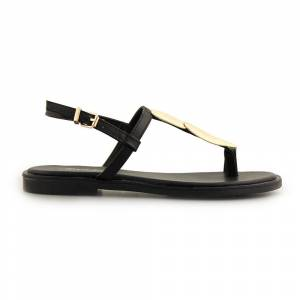 InShoes Γυναικεία σανδάλια με μεταλλικό διακοσμητικό Μαύρο