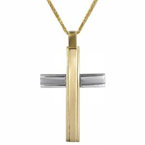Βαπτιστικοί Σταυροί με Αλυσίδα Δίχρωμος αντρικός σταυρός Κ18 024697C 024697C Ανδρικό Χρυσός 18 Καράτια