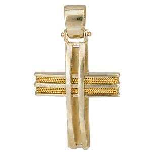 Σταυροί Βάπτισης - Αρραβώνα Χρυσός συρματερός σταυρός Κ14 024964 024964 Ανδρικό Χρυσός 14 Καράτια