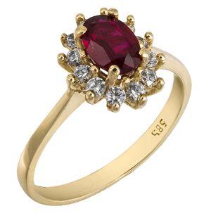 Χρυσό δαχτυλίδι ροζέτα Κ14 με κόκκινη πέτρα 025782 025782 Χρυσός 14 Καράτια