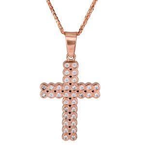 Βαπτιστικοί Σταυροί με Αλυσίδα Σταυρός βάπτισης ροζ gold Κ14 πετράτος με αλυσίδα 025989C 025989C Γυναικείο Χρυσός 14 Καράτια