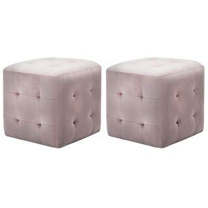 vidaXL Σκαμπό Πουφ 2 τεμ. Ροζ 30 x 30 x 30 εκ. από Βελούδινο Ύφασμα