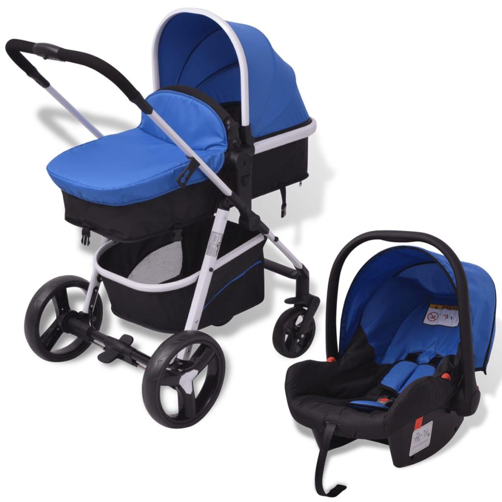 vidaXL Καροτσάκι Παιδικό 3 σε 1 Μπλε και Μαύρο Αλουμινίου