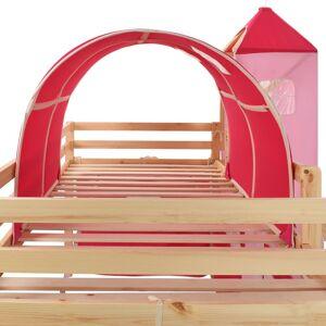 vidaXL Πλαίσιο Υπερυψ. Κρεβατιού με Τσουλήθρα Σκάλα 208x230 εκ Πεύκο