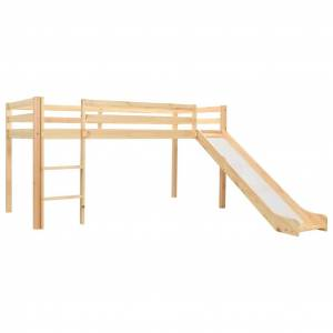 vidaXL Πλαίσιο Υπερυψ. Κρεβατιού με Τσουλήθρα & Σκάλα 97x208 εκ. Πεύκο