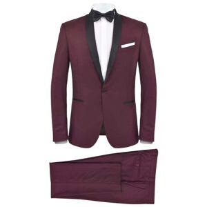 vidaXL Κοστούμι Ανδρικό Black Tie/Σμόκιν 2 Τεμαχίων Μπορντό Μέγεθος 52