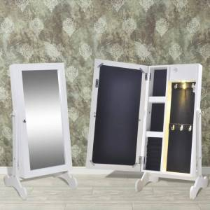 vidaXL Κοσμηματοθήκη με LED Φωτισμό και Πόρτα με Καθρέπτη Λευκή