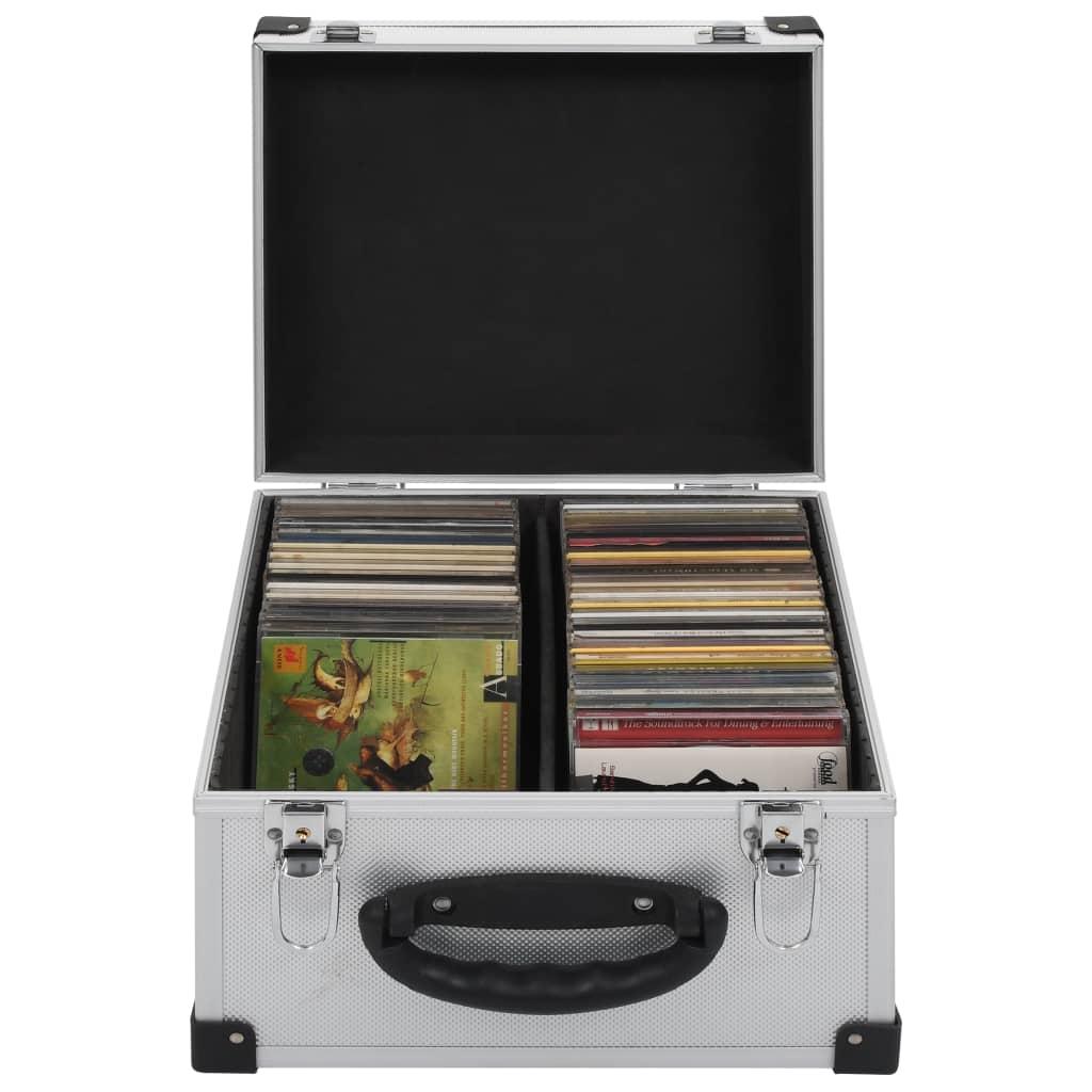 vidaXL Βαλίτσα Μεταφοράς για 40 CD Ασημί από Αλουμίνιο και ABS