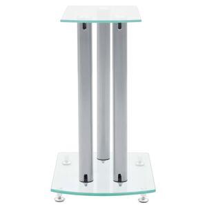vidaXL Stand ηχείων Αλουμίνιο με διάφανο γυαλί ασφαλείας 2 τμχ
