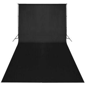 vidaXL Σετ Studio: Σύστημα Φόντου Μαύρο 600 x 300 εκ. & Φωτισμός