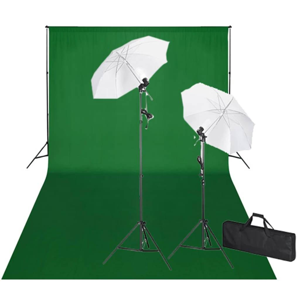 vidaXL Σετ Studio: Σύστημα Φόντου Πράσινο 600 x 300 εκ. & Φωτισμός