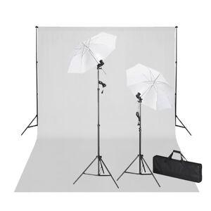 vidaXL Σετ Studio: Σύστημα Φόντου Λευκό 600 x 300 εκ. & Φωτισμός