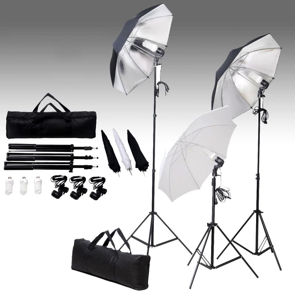 vidaXL Σετ Φωτισμού Στούντιο 24 watt με Τρίποδα & Ομπρέλες