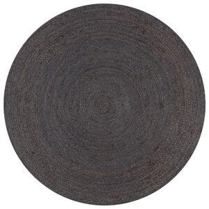 vidaXL Χαλί Χειροποίητο Στρογγυλό Σκούρο Γκρι 150 εκ. από Γιούτα