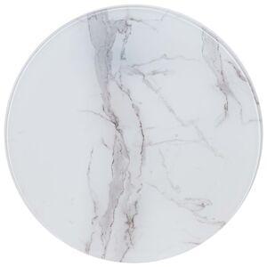 vidaXL Επιφάνεια Τραπεζιού Λευκή Ø50 εκ. Γυάλινη με Μαρμάρινη Όψη
