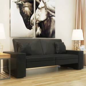 vidaXL Καναπές - Κρεβάτι Μαύρος από Συνθετικό Δέρμα