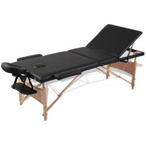 vidaXL Κρεβάτι μασάζ Πτυσσόμενο 3 θέσεων με ξύλινο σκελετό Μαύρο