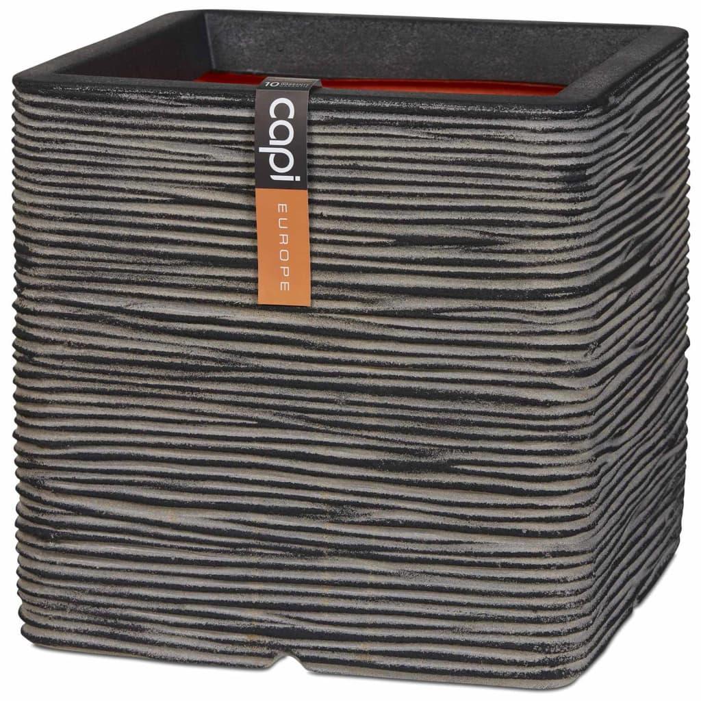 Capi Γλάστρα Nature Rib Τετράγωνη Ανθρακί 30 x 30 εκ. KOFZ902