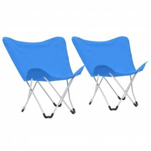 vidaXL Καρέκλες Camping Τύπου Πεταλούδα 2 τεμ. Πτυσσόμενες Μπλε