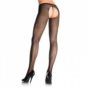 Leg Avenue Crotchless Fishnet Pantyhose - Black