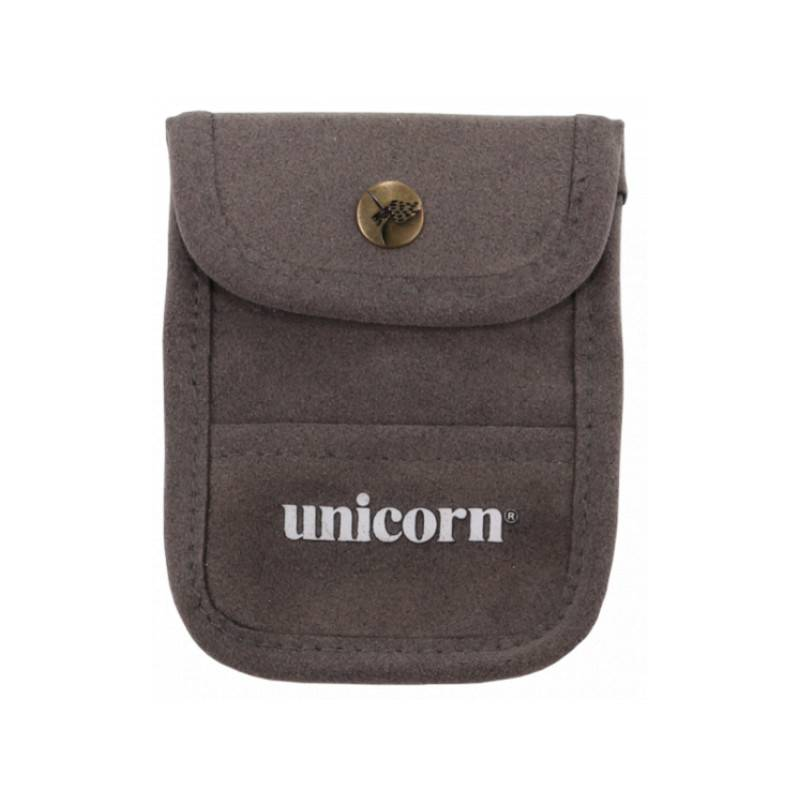 ACCESSORY POUCH GREY FLOCKED LEATHER