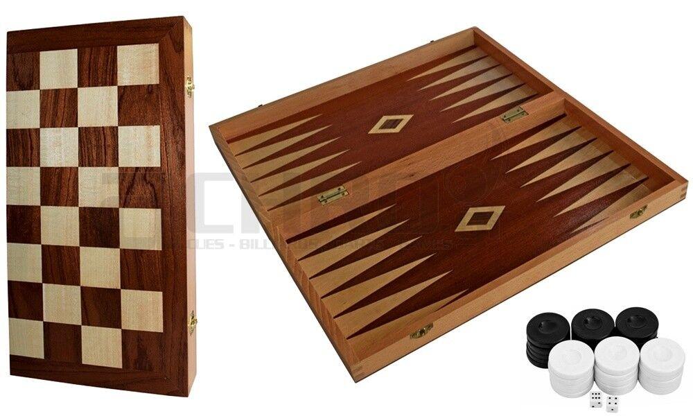 Backgammon - Chess Τάβλι - Σκάκι Ξύλινο με Καπλαμά