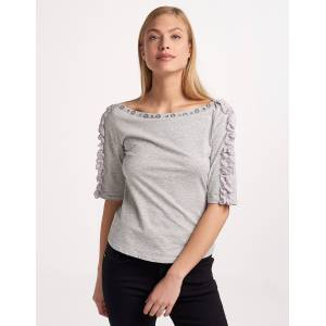 Issue Μπλούζα με μεταλλικές και γκοφρέ λεπτομέρειες - Γκρι