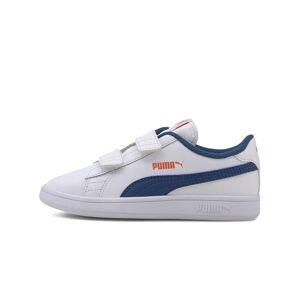 Puma Smash v2 Leather Kids' Shoes 365173-16 Puma White-Bright Cobalt-Firecracker