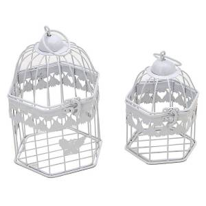 Inart Φανάρια/Κλουβιά (Σετ 2τμχ) InArt Gilded Cage White 3-70-207-0081