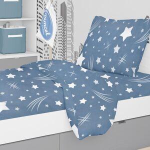Dimcol Φανελένια Παπλωματοθήκη Μονή Dimcol Star 37 Blue